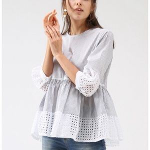 Chicwish - striped babydoll crochet blouse